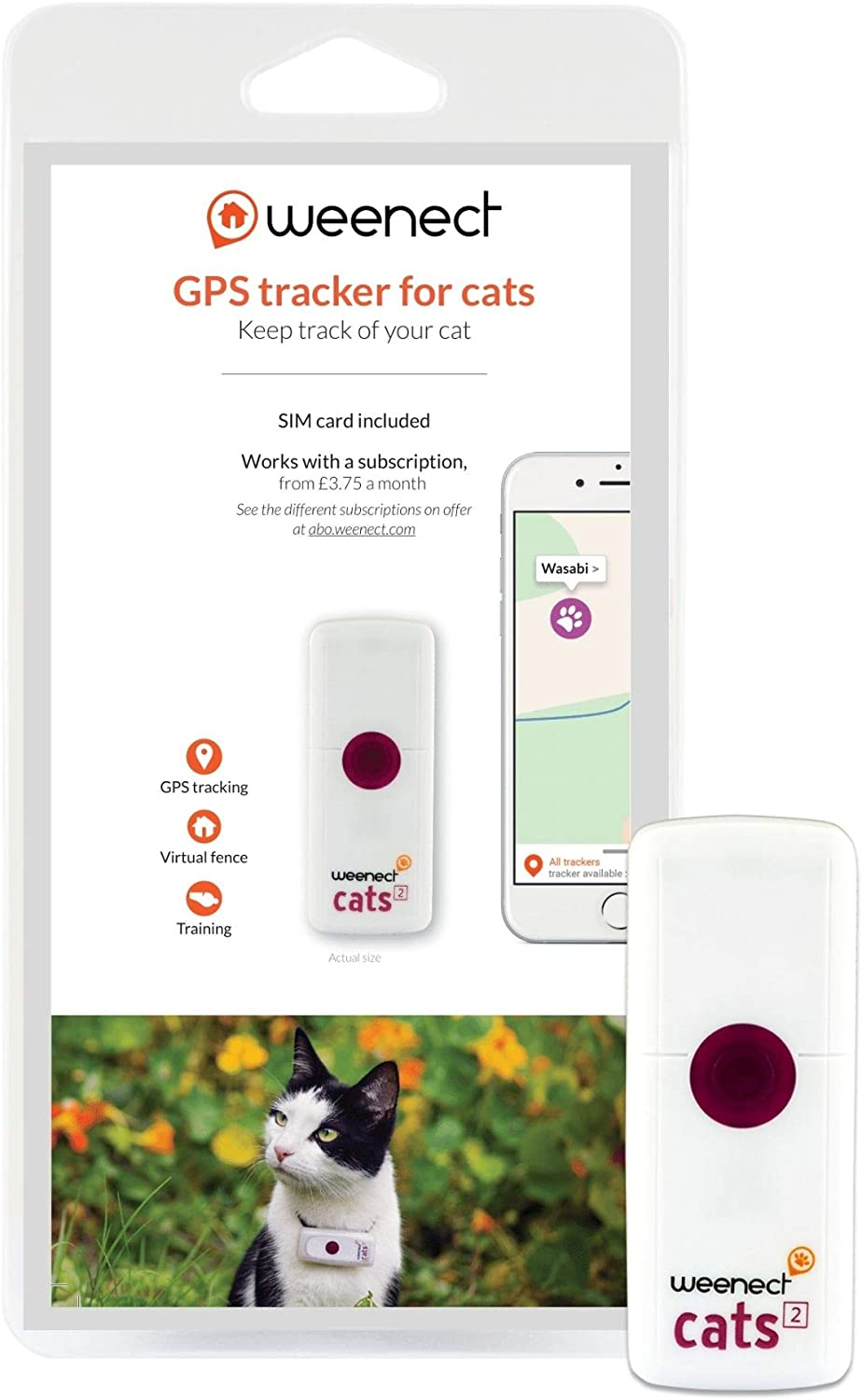 Weenect Cats 2 GPS Tracker locate your cat live in real-time! Learn movement activity history. Phone feline from your smartphone!